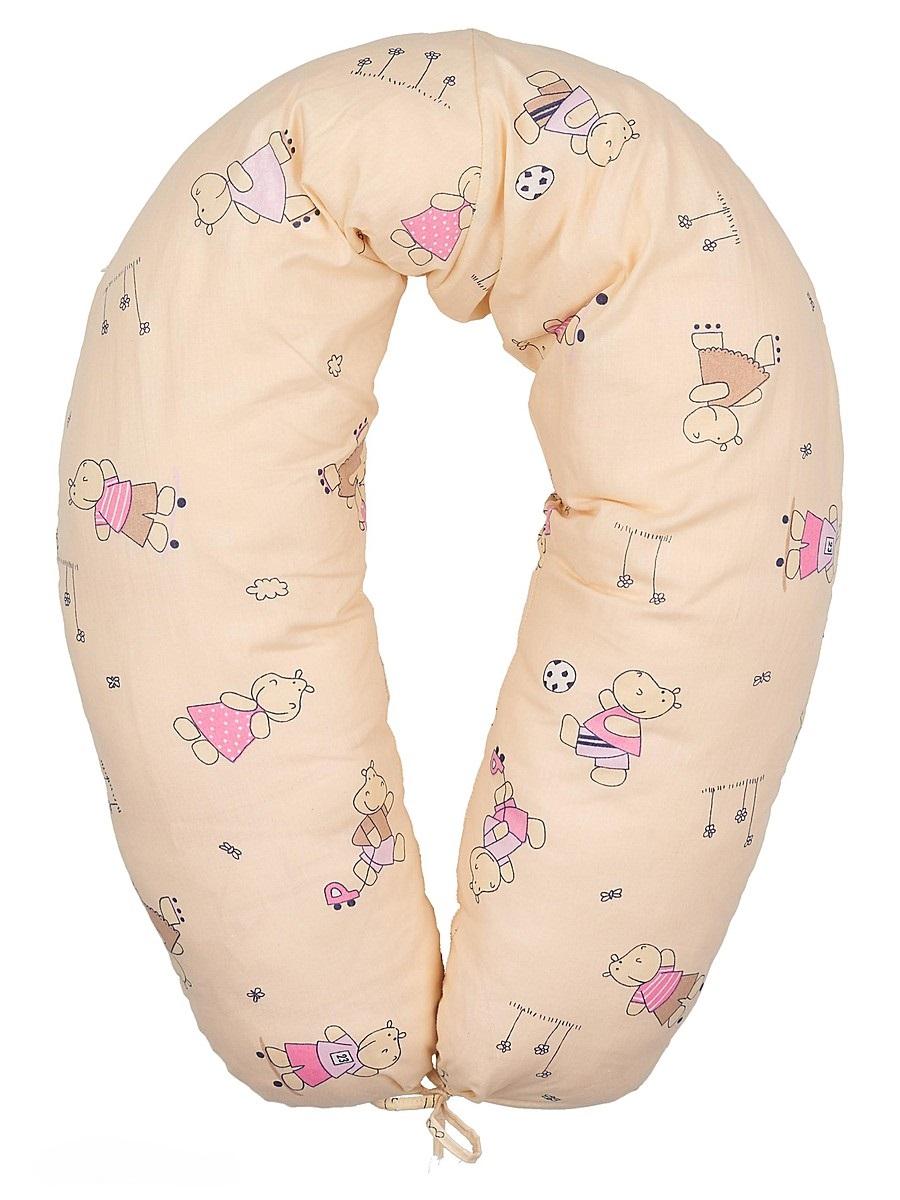 40 недель Подушка для кормящих и беременных Бегемотики цвет бежевый розовый 170 смdogs_rose50Многофункциональная подушка с наполнителем из холлофайбера подходит для кормления и отдыха - обеспечивает комфорт мамы и малыша.В период беременности ее удобно использовать, подкладывая под живот или спину. Для уменьшения нагрузки на спину, плечи, руки и шею во время кормления расположите подушку вокруг талии. Для поддержания ребенка в различных положениях и зашиты его от падения, следует поместить малыша в центр подушки.Модель со съемным чехлом из хлопкового полотна на застежке-молнии.Размер 170 х 30 см.