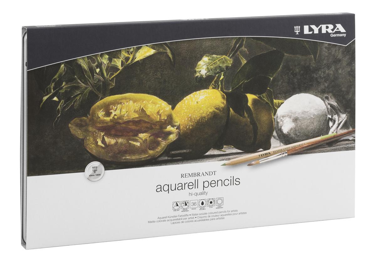 Lyra Набор художественных цветных карандашей Rembrandt Aquarell 36 шт610842Цветовая палитра художественных карандашей Lyra содержит большое разнообразие оттенков. Благодаря качеству пигментов в грифеле карандаша цвета получаются яркими, хорошо смешиваются и почти полностью размываются водой. При работе в этой технике вы сначала рисуете изображение карандашами, а затем с помощью мягкой кисти размываете его водой.Каждый цветной карандаш Rembrandt Aquarell дает выразительный оттенок, устойчивый к выцветанию. Поэкспериментируйте, чтобы добиться различных вариантов прозрачности и непрозрачности.