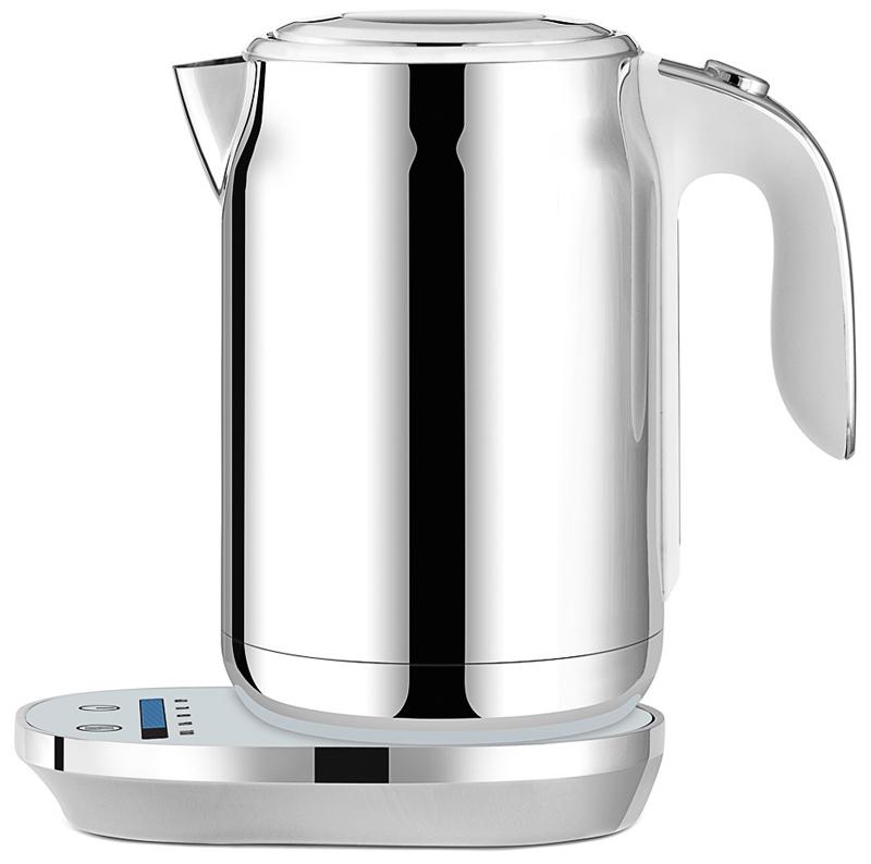 Element ElKettle WF11MW, White чайник электрический79 01963Представляем новый smart-чайник Element ElKettle WF11MW из нержавеющей стали с сенсорным управлением,регулировкой температуры нагрева и функцией поддержания тепла.Чайник имеет пять температурных режимов. Все параметры выбираются с помощью сенсорной панели, состоящейиз температурной шкалы Touch line и двух кнопок. Корпус чайника изготовлен из нержавеющей стали – практично и стильно. Глянцевая подставка-основаниечайника дополнена белой подсветкой элементов управления. На информативной шкале отображается текущаятемпература воды в чайнике. Силиконовое покрытие ручки Soft-touch и контактная группа STRIX (Великобритания; вращение 360°) делаютчайник удобным и надежным. Крышка прибора оснащена плавным механизмом открывания и смотровым окошком.Чайник Element ElKettle WF11MW – отличное дополнение к любому завтраку для начала еще одного прекрасногодня!