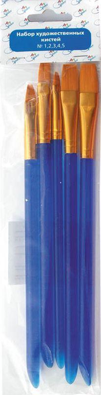 Спейс Набор плоских кистей Cинтетика 5 штPP-001Набор кистей № 1,2,3,4,5 синтетика, плоские, 5 шт, европодвес