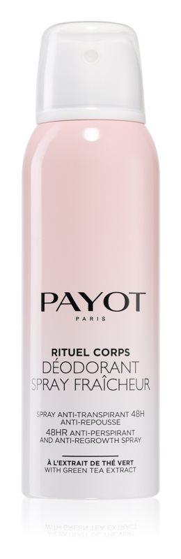 Payot Corps Освежающий антиперспирант 48 – часового действия, замедляющий рост волос, 125 млБ33041_шампунь-барбарис и липа, скраб -черная смородинаСпрей-дезодорант освежает и заряжает энергией и замедляет рост волос. Защищает от неприятного запаха на протяжении 48 часов. Украшает кожу: благодаря тончайшим перламутровым частицам. Деликатно ароматизирует кожу.
