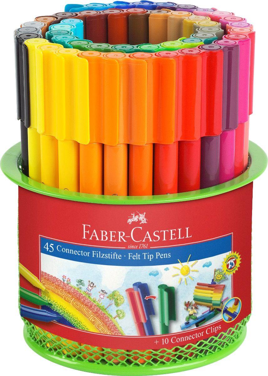 Faber-Castell Набор фломастеров Connector 45 цветов72523WD специальная металлическая корзина, содержащая 45 фломастеров Connector 10 клипов для соединения
