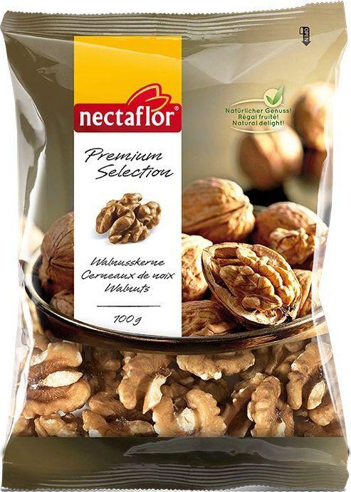 осле сбора урожая орех освобождается от плотной скорлупы и высушивается. Для того, чтобы получить идеальные по форме половинки ядер этот орех раскалывается вручную и затем отбирается по размеру. Половинки ядер грецкого ореха Nectaflor являются крупными и светлыми, имеют типичный ореховый вкус.  В ядрах данного ореха содержится большое количество ненасыщенных жиров, витаминов группы Б и минералов. Отлично подходят для салатов, курицы, рыбы, десертов и в качестве обычной закуски.