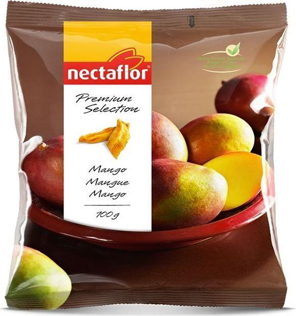 Nectaflor дольки манго, 100 г0120710Сушеный манго содержит ценную клетчатку. Это чрезвычайно вкусная, экзотическая и низкокалорийная закуска без добавления сахара.