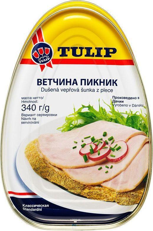 Tulip Ветчина Пикник, 340 г0120710При приготовлении используется сырье, хорошо сбалансированное по содержанию мышечной и жировой ткани. Ветчина лопаточная – консервированная постная диетическая ветчина из лучших свиных окороков с содержанием мяса – 80%. Незаменима в походе и на даче.