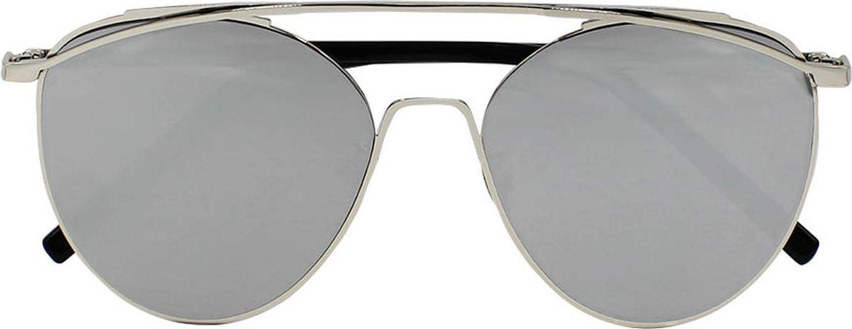 Очки солнцезащитные женские Taya, цвет: черный, серебристый. S-O-0064TL-49-TPОчки-авиаторы, ультрафиолетовый фильтр, зеркальные. Габариты предмета: высота линзы 5,2 см; ширина линзы 5,5 см; длина дужки 14,0 см