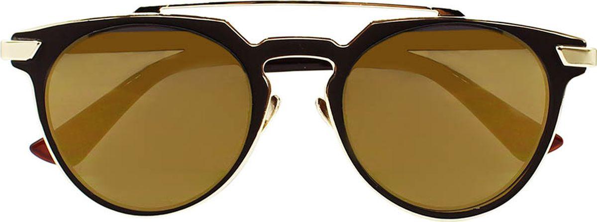 Очки солнцезащитные женские Taya, цвет: золотистый, коричневый. S-O-0100TL-49-TKБроулайнеры, ультрафиолетовый фильтр. Габариты предмета: высота линзы 4,5 см; ширина линзы 5,5 см; длина дужки 14,5 см