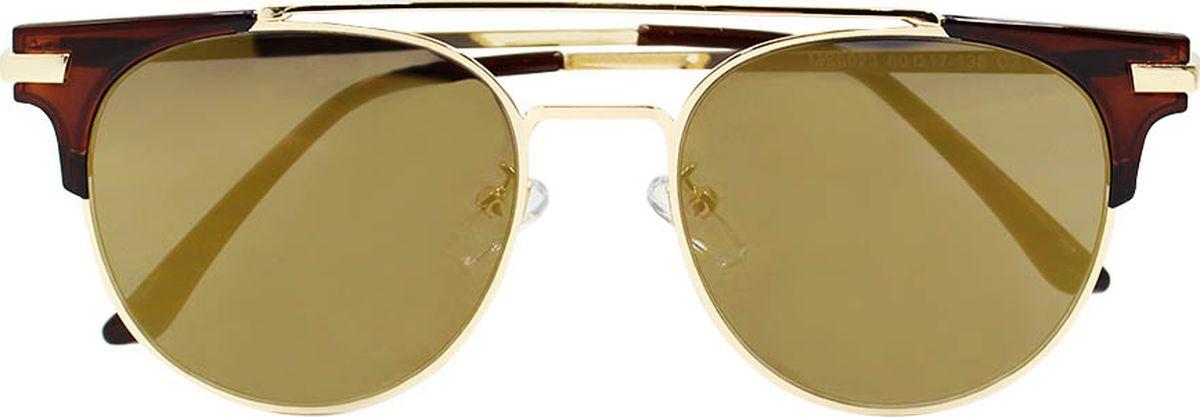 Очки солнцезащитные женские Taya, цвет: золотистый, коричневый. S-O-0113BM8434-58AEБроулайнеры, ультрафиолетовый фильтр, зеркальные. Габариты предмета: высота линзы 4,5 см; ширина линзы 5,5 см; длина дужки 14,5 см