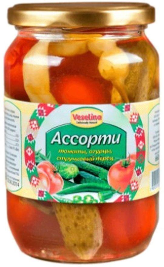 Veselina ассорти томаты огурцы стручковый перец, 680 г0120710Ассорти Веселина - это отличная комбинация трех вкусных и любимых овощей на вашем столе. А польза очевидна, так как: калий, полезный нашему сердцу, содержится в количестве 237 мг всего в одном помидоре,огурцы богаты сложными органическими веществами, которые играют важную роль в обмене веществ,стручковый перчик снабжает наш организм витаминами Е, А, С и микроэлементами, и помогает нам бороться с лишним весом.Ассорти Веселина незаменимая закуска по любому поводу. Быстро и вкусно разнообразит ваше меню. Традиционные консервы.