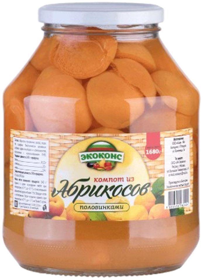 Экоконс компот из абрикосов половинками, 1,7 л0120710Яркие оранжевые плоды, похожие на маленькое солнце, очень полезны для здоровья. Высокое содержание калия в плодах абрикоса способствует улучшению сердечной функции, при регулярном его употреблении, а магний помогает улучшить память.