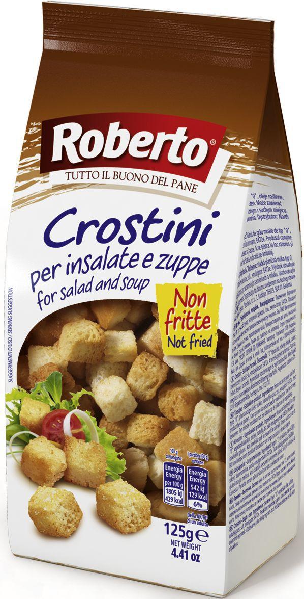 """Сухарики для супа и салата """"Roberto"""" произведены из муки мягких сортов, идеальное решение для ценителей супов-пюре и салатов. Они придадут блюду пикантность оставаясь хрустящими! Компания """"Roberto Alimentare S.r.l."""" основана в 1962 году. Сочетание традиций качественного производства хлеба с самыми современными технологиями и потребностями рынка и безграничная любовь к своему делу принесли компании """"Roberto Srl"""" известность и популярность во многих странах мира. Сегодня компания Roberto Alimentare s.r.l. - признанный лидер в Италии в сегменте производства хлебобулочных изделий с долей рынка по некоторым группам товаров более 30%. Компания """"Roberto"""" стремится обеспечить высокий уровень механизации и автоматизации технологических процессов производства хлеба, внедрение новых технологий и постоянное расширение ассортимента хлебобулочных изделий."""
