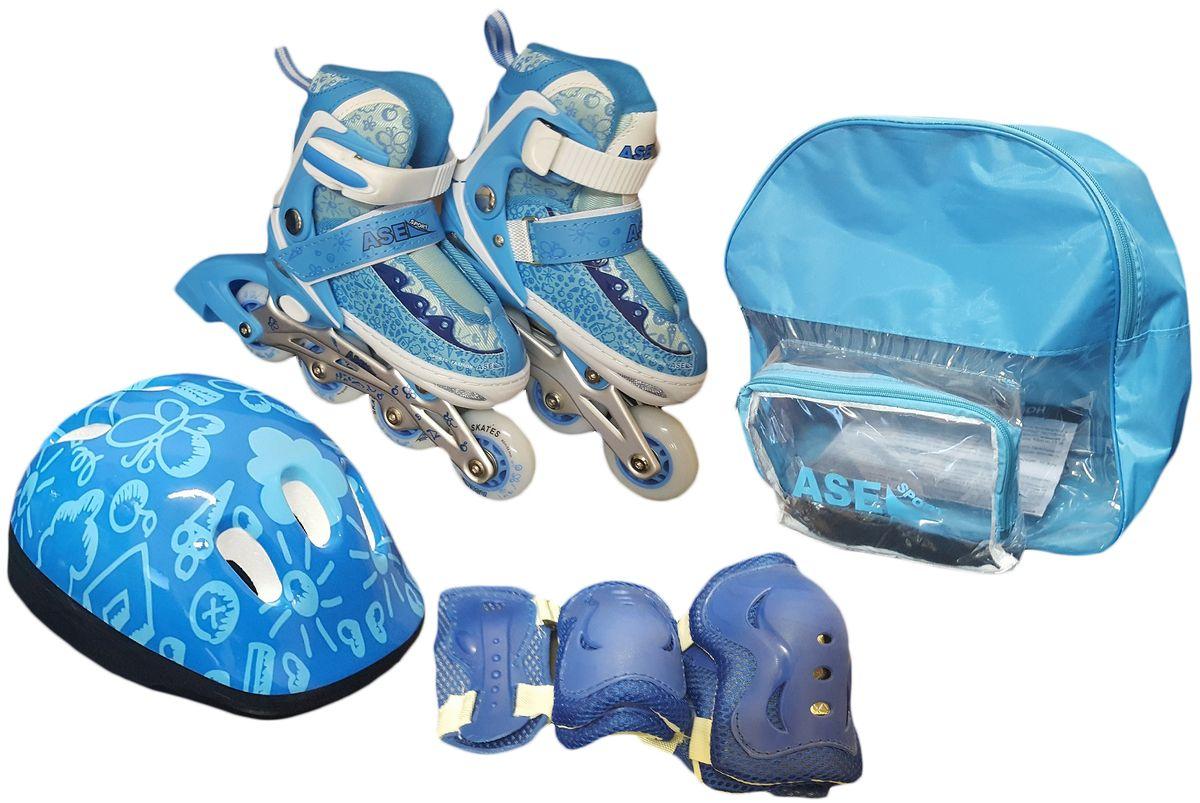 Комплект Ase-Sport Combo: коньки роликовые, шлем, защита, цвет: синий. ASE-198. Размер S (32/35)AIRWHEEL Q3-340WH-BLACKВ комплект входят: раздвижные ролики, защитный шлем, налокотники, наколенники и защита для рук, а также сумка для переноски и хранения.Ролики оснащены удобной системой изменения размера с помощью кнопки, которая позволяет корректировать размер сапожка по мере роста ноги ребенка. Верх сапожка ролика изготовлен из современного синтетического материала, стойкого к внешним воздействиям. Застежка типа AUTO LOCK удобно регулируется на нужный размер.Ролики комплектуются тормозом, колесами класса жесткости 82А, размер 70мм PVC.Шнуровка коньков: матерчатые петли в сочетании с широким язычком, и шнурки из полиэстера с синтетическими волокнами для более прочной фиксации ноги.Алюминиевая рама обеспечит прочность и устойчивость к механическим повреждениям.