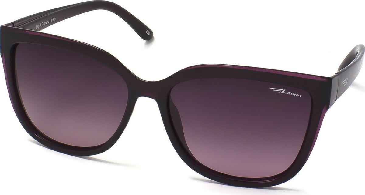 Очки поляризационные женские Legna, цвет: фиолетовый, фиолетовый. S8701BBM8434-58AEСолнцезащитные очки LEGNA с поляризационными линзами превосходно предохраняют глаза от любого рода вредных бликов и УФ-лучей, что делает вождение безопасным и комфортным. Также очки LEGNA ничем не уступают самым известным маркам и брендам в эстетической части. Благодаря линзам премиум класса очки LEGNA прекрасно подходят для повседневной носки, занятий спортом, отдыха и конечно для использования за рулем.