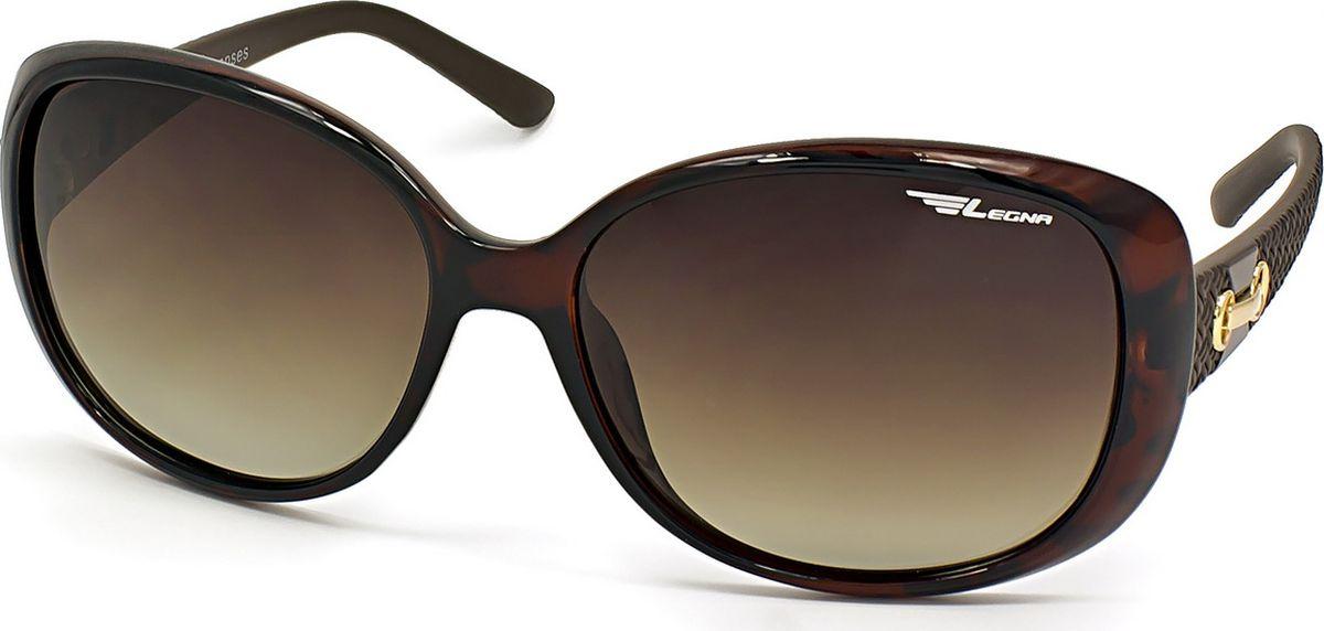 Очки поляризационные женские Legna, цвет: коричневый. S8711BTL-49-VKСолнцезащитные очки LEGNA с поляризационными линзами превосходно предохраняют глаза от любого рода вредных бликов и УФ-лучей, что делает вождение безопасным и комфортным. Также очки LEGNA ничем не уступают самым известным маркам и брендам в эстетической части. Благодаря линзам премиум класса очки LEGNA прекрасно подходят для повседневной носки, занятий спортом, отдыха и конечно для использования за рулем.