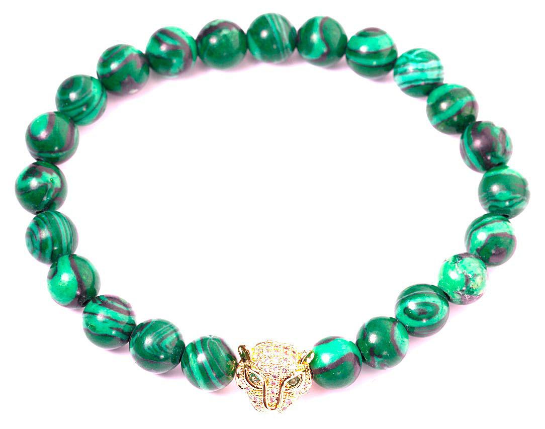 Браслет женский Bradex Глаз тигра, цвет: зеленый. AS 0132Браслет с подвескамиБраслет на руку в виде ряда овальных бусин из натурального природного малахита. Насыщенный, сочный темно-зеленый цвет камня с более светлыми вкраплениями идеально сочетается со вставкой из металла с золотистым покрытием, выполненной в виде головы тигра.
