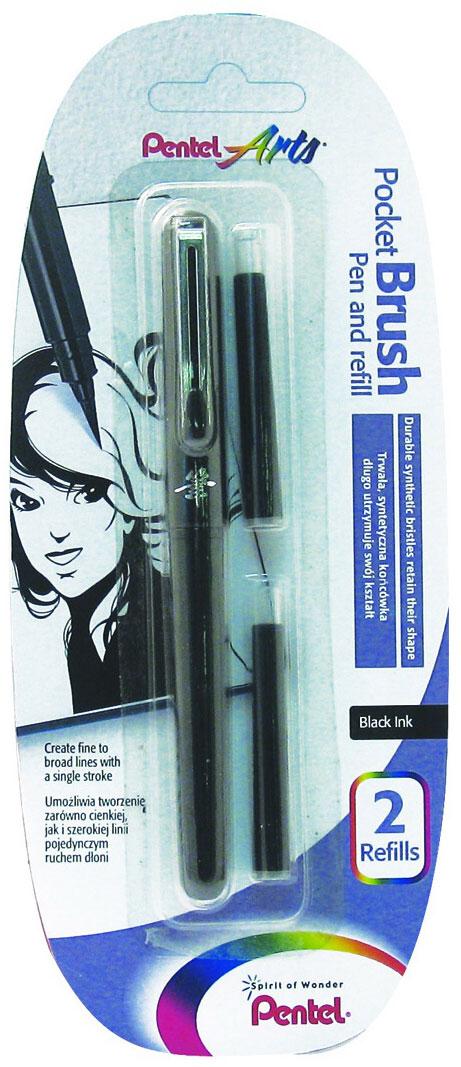 Pentel Ручка-кисть для каллиграфии Brush Pen цвет черный + 2 картриджа72523WDПервоклассный инструмент для художника!Элегантный лаковый корпус, оформленный японским иероглифом. Защитный колпачок с металлическим клипом. Яркие черные пигментные чернила. Долговечная нейлоновая кисть позволяет создавать любые по толщине линии. Ручка-кисть поставляется в комплекте с запасными картриджами. Сменный картридж FP10.