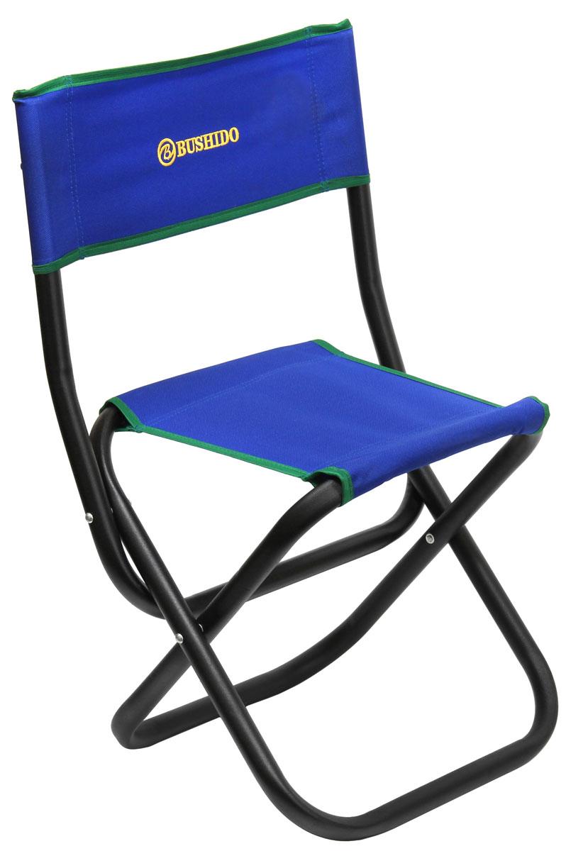 Стул складной Bushido, со спинкой, цвет: синий, 60 х 35 х 28 х 33 см09840-20.000.00Складной стул со спинкой. Размер: 600 х 350 х 280 х 330 мм. Диаметр трубы - 22 мм. Максимальная нагрузка 100 кг. Предназначен для отдыха на природе, пикника или рыбалки.