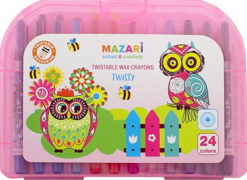 Mazari Мелки восковые Twisty 24 цвета цвет чемоданчика розовыйLF806309Набор восковых мелков Mazari Twisty содержит 24 мелка ярких насыщенных цветов. Каждый мелок имеет пластиковый выкручивающийся корпус. Мелки обеспечивают удивительно мягкое письмо, позволяющее легко закрашивать большие площади. Мелки предназначены для рисования на бумаге, картоне, керамике и пластике. Не токсичны и абсолютно безопасны для детей.Мелки аккуратно упакованы в пластиковый чемоданчик.