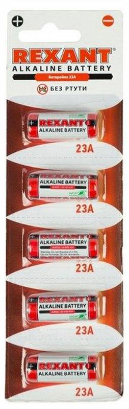 Батарейка Rexant, тип 23A, 5 штALKAAA40Батарейка для использования в автосигнализации, беспроводных звонков и других специальных приборов.