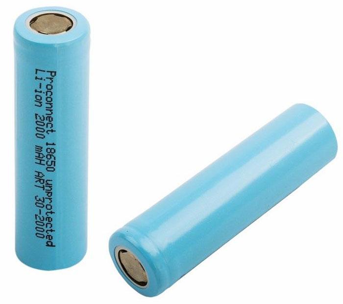 Аккумулятор PROconnect 18650, unprotected Li-ion 2000 mAH09843-20.000.00Литий-ионные аккумулятор 18650 предназначен для использования в фонарях и других устройствах с высоким энергопотреблением.