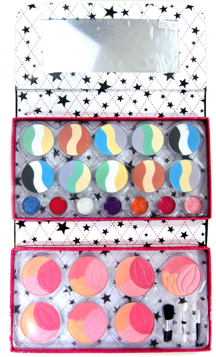 Totally Fashion Набор детской декоративной косметики Клатч 220111301207В наборе: румяна- 4 тона, блеск для губ- 6 тонов, кисточка средняя, кисточка маленькая, аппликатор. Имеется ПАСПОРТ БЕЗОПАСНОСТИ МАТЕРИАЛА/ Макияж можно снять, с помощью ватного диска, используя средство для снятия макияжа или просто тёплой водой. Для снятия лака не нужны специальные средства: лак постепенно смывается водой, при мытье рук в течение 2-х дней, или же его можно удалить с помощью детского масла.Набор, состоящий из сумки-клатча, в которой находится косметика, позволит девочкам научиться наносить себе макияж, пользуясь безопасной детской косметикой с удобством и легкостью: ведь клатч раскладывается и может быть установлен перед девочкой. Внутри у него есть и зеркальце. Из косметики в наборе представлены румяна, блески для губ и тени для глаз, все разнообразных оттенков. Для удобства нанесения в комплект включен аппликатор и кисточки разного размера.