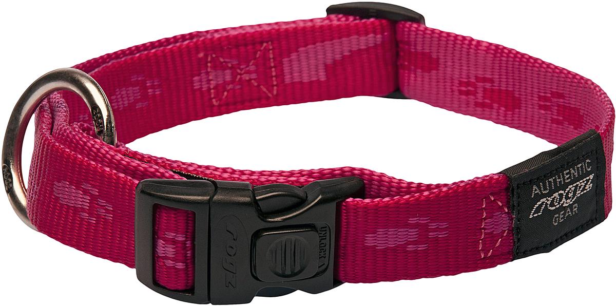 Ошейник для собак Rogz Alpinist, цвет: розовый, ширина 2 см. Размер L0120710Мягкая лента. Высококачественные ленты ROGZ мягкие в руках, но обладают высокой прочностью. Особое плетение полотна способствует увеличению уровня прочности и защиты.Специальная конструкция пряжки Rog Loc - очень крепкая (система Fort Knox). Замок может быть расстегнут только рукой человека.Технология распределения нагрузки позволяет снизить нагрузку на пряжки, изготовленные из титанового пластика, с помощью правильного и разумного расположения грузовых колец.Особые контурные пластиковые компоненты. Специальная округлая форма конструкции позволяет ошейнику комфортно облегать шею собаки.Выполненые специально по заказу ROGZ литые кольца гальванически хромированы, что позволяет избежать коррозии и потускнения изделия. Полотно: нейлоновая тесьма. Пряжки: ацетиловый пластик. Кольца: цинковое литье.