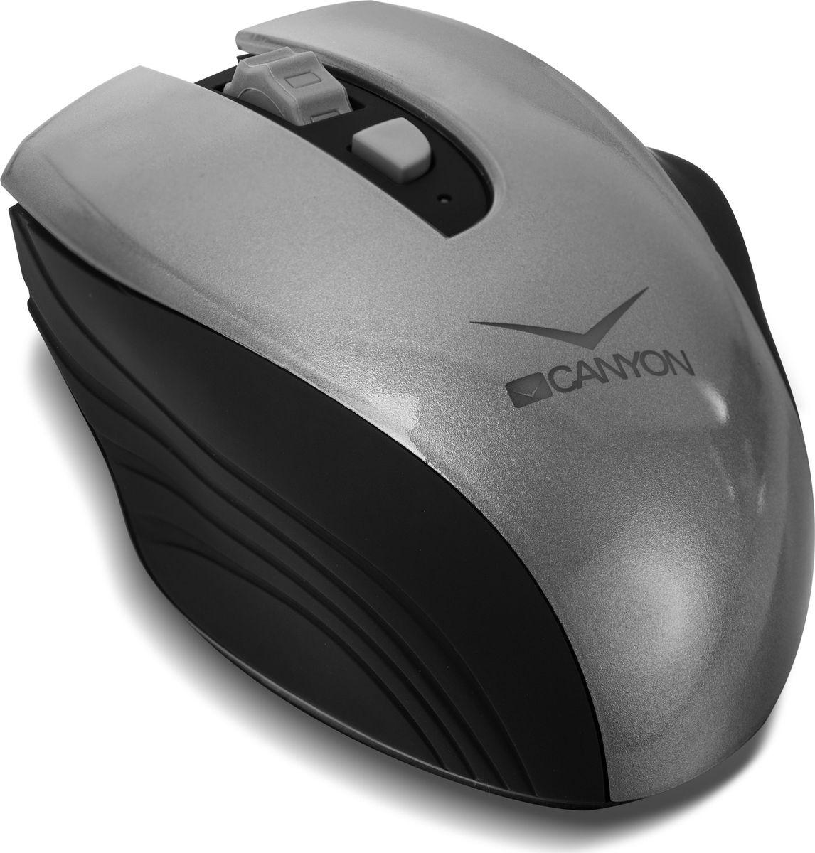 Canyon CNS-CMSW7G, Graphite мышь беспроводнаяCM000001192Забудьте о смене батареек – эта мышка в них не нуждается! Теперь работать с беспроводной мышью намного комфортнее и экономнее, ведь в любое время ее можно зарядить через USB-порт, либо от розетки. При этом заряда хватает на 2 недели работы. Мышь CNS-CMSW7 оснащена переключателем чувствительности датчика между 800, 1200 и 1600 DPI, что весьма облегчает работу на большом экране, либо на двух мониторах. Форма мыши имеет идеальную эргономику и создана для максимально удобного захвата в правой руке. В комплекте – микро USB-приемник для зарядки и подключения к компьютеру.