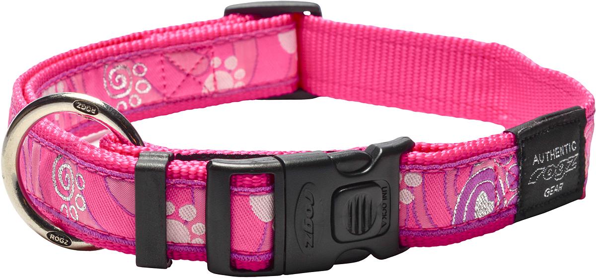 Ошейник для собак Rogz Fancy Dress, ширина 2,5 см. Размер XL. HB02CA0120710Необычный дизайн. Широкая гамма потрясающе красивых орнаментов на прочной тесьме поверх нейлоновой ленты украсит Вашего питомца.Специальная конструкция пряжки Rog Loc - очень крепкая(система Fort Knox). Замок может быть расстегнут только рукой человека.Технология распределения нагрузки позволяет снизить нагрузку на пряжки, изготовленные из титанового пластика, с помощью правильного и разумного расположения грузовых колец.Особые контурные пластиковые компоненты. Специальная округлая форма конструкции позволяет ошейнику комфортно облегать шею собаки.Литое кольцо. Выполненые по заказу литые кольца имеют хромирование, нанесенное гальваническим способом, что позволяет избежать коррозии и потускнения изделия. Полотно: нейлоновая тесьма. Пряжки: ацетиловый пластик. Кольца: цинковое литье.
