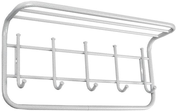 Вешалка настенная ЗМИ Антик, с полкой, с 6 крючками, цвет: белый, серебристый, 60 х 21 х 28 смUP210DFНазначение: Настенная вешалка для размещения одежды и головных уборов. Область применения: В любых помещениях – дом, офис, общепит и других.Материал: Стальная труба диаметром 10 и 16 мм; стальные колпачки; полимерно-порошковое покрытие. Конструкция: Цельносварная.Упаковка: ПЭТ пленка.Габариты (Д х Ш х В): В собранном виде: 600 х 210 х 280 мм.В упакованном виде: 600 х 210 х 280 мм.Вес Нетто: 1,35 кг. Вес Брутто: 1,42 кг. Объем: 0,011 куб.м. Отличительные особенности:- надежная сварная конструкция;- компактная вешалка с 6 крючками; - полка удобна для хранения головных уборов; - классическая форма.