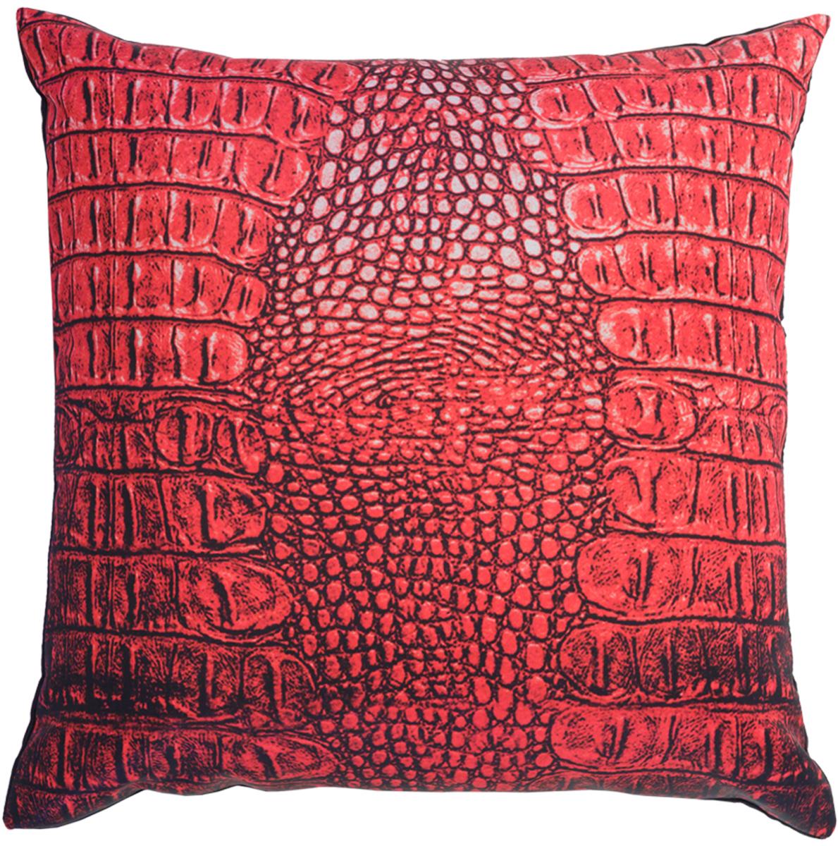 Подушка декоративная GiftnHome Крокодил, цвет: красный, 35 х 35 смES-412Подушка декоративная GiftnHome Крокодил прекрасно дополнит интерьер спальни или гостиной. Чехол подушки выполнен из атласа (искусственный шелк) и оформлен изысканным орнаментом. В качестве наполнителя используется мягкий холлофайбер. Чехол снабжен потайной застежкой-молнией, благодаря чему его легко можно снять и постирать.Красивая подушка создаст атмосферу уюта в доме и станет прекрасным элементом декора.
