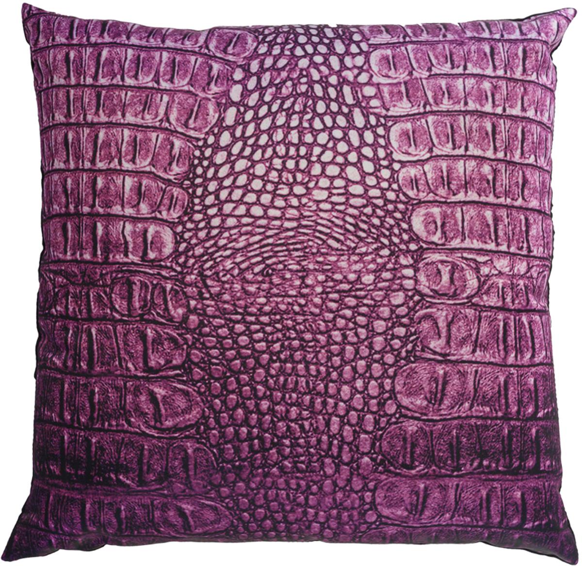 Подушка декоративная GiftnHome Крокодил, цвет: фиолетовый, 35 х 35 см531-401Подушка декоративная GiftnHome Крокодил прекрасно дополнит интерьер спальни или гостиной. Чехол подушки выполнен из атласа (искусственный шелк) и оформлен изысканным орнаментом. В качестве наполнителя используется мягкий холлофайбер. Чехол снабжен потайной застежкой-молнией, благодаря чему его легко можно снять и постирать.Красивая подушка создаст атмосферу уюта в доме и станет прекрасным элементом декора.