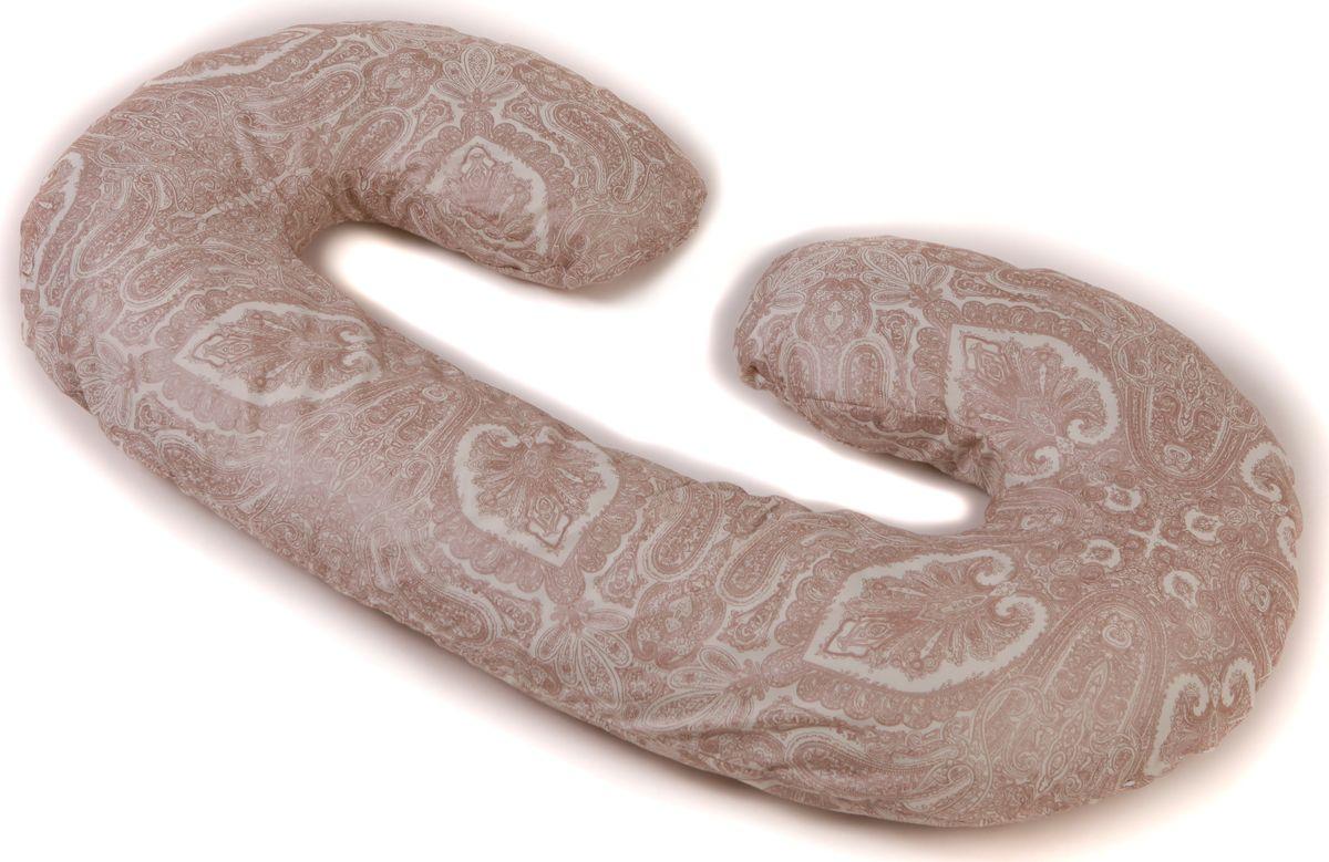 Body Pillow Подушка для беременных C-образная с наволочкой цвет белый коричневый 75 х 140 смdogs_rose50Подушка для беременных в форме С – многофункциональная и эргономичная подушка, которая подстроится под форму тела будущей мамы даже во время анатомических изменений. Длинная сторона подушки поддерживает растущий животик или спинку, а закругления подкладываются под голову и между бедер, для того чтобы снять напряжение с мышц и отечность ног. Размер подушки 140х75 см (или 300 см по внешнему краю). Подушка идеально подойдет девушкам с ростом до 170 см.Подушку можно сложить пополам и использовать как удобное кресло, а так же подушку можно обернуть вокруг талии и расположить на ней малыша во время кормления.Наполнитель подушки – холлофайбер – это мягкий и гибкий классический наполнитель. Этот материал состоит из волокон полиэстера, которые образуют сильную пружинистую структуру материала. Это свойство позволяет быстро восстанавливать свою форму после смятия, а так же принимать различные формы. В комплекте есть съемная наволочка на молнии нежного бежево-молочного цвета с рельефным римским узором «Квадратики» из микрофибры, очень практичный цвет.