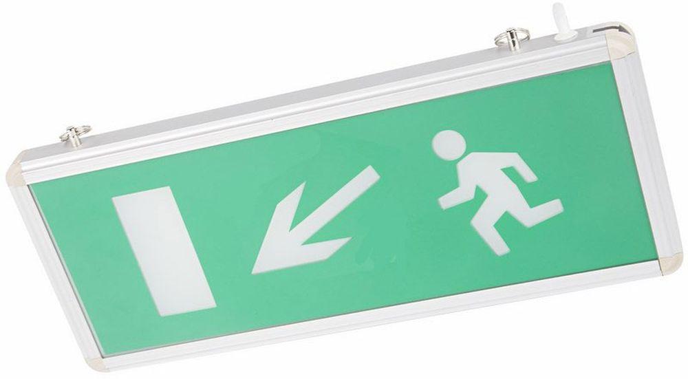 Светильник аварийный Rexant Направление к эвакуационному выходу налево вниз, светодиодный25051 7_желтыйАварийные светильники предназначены для установки во внутренних помещениях промышленных предприятий, гражданских зданий и сооружений. Обеспечивая освещение и сообщение необходимой информации (направление выхода, выхода) в случае прекращения подачи электроэнергии. Характеристики: • Способ крепления: настенный, подвесной. • Исполнение: односторонний. • Номинальное напряжение: 180-240 В, 50/60 Гц. • Количество светодиодов в светильнике: 4 шт. • Мощность: 3 Вт. • Размеры стекла: 329 x 118 мм. • Размеры светильника: 355 x 145 x 20 мм. • Степень защиты: IP30. • Тип аккумуляторных батарей: никель-кадмиевые 1.2 В.• Время работы от аккумулятора: 90 минут. • Материал корпуса: алюминиевый сплав. Источником света в светильнике является светодиодная линейка, использование которой дает преимущество в сравнении с применяемыми в настоящее время люминесцентными лампами и лампами накаливания. Светильник имеет два варианта крепления: настенное и потолочное. Световые указатели имеют встроенный аккумулятор и сохраняют работоспособность при отсутствии напряжения в течение 90 минут.