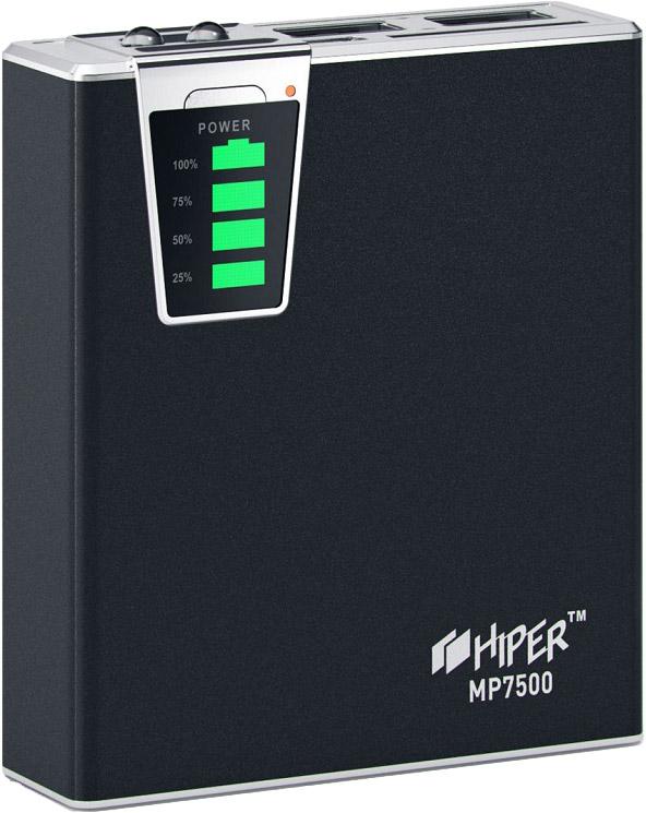 Hiper MP7500, Black внешний аккумулятор (7500 мАч)4627102591029Внешний аккумулятор Hiper Power Bank серии MP выполнен в класическом дизайне и отличается богатым набором адаптеров под различные типы заряжаемых устройств. Максимальный выходной ток - 2,1А, устройство снабжено двумя USB-выходами и индикатором уровня заряда. Высококачественный литий-ионный аккумулятор обладает встроенной защитой: от избыточного заряда и полного разряда, от перенапряжения и перегрузки по силе тока, от короткого замыкания — все это обеспечивает максимальную безопасность использования и подтверждает заслуженную репутацию надёжного производителя аналогичных устройств.