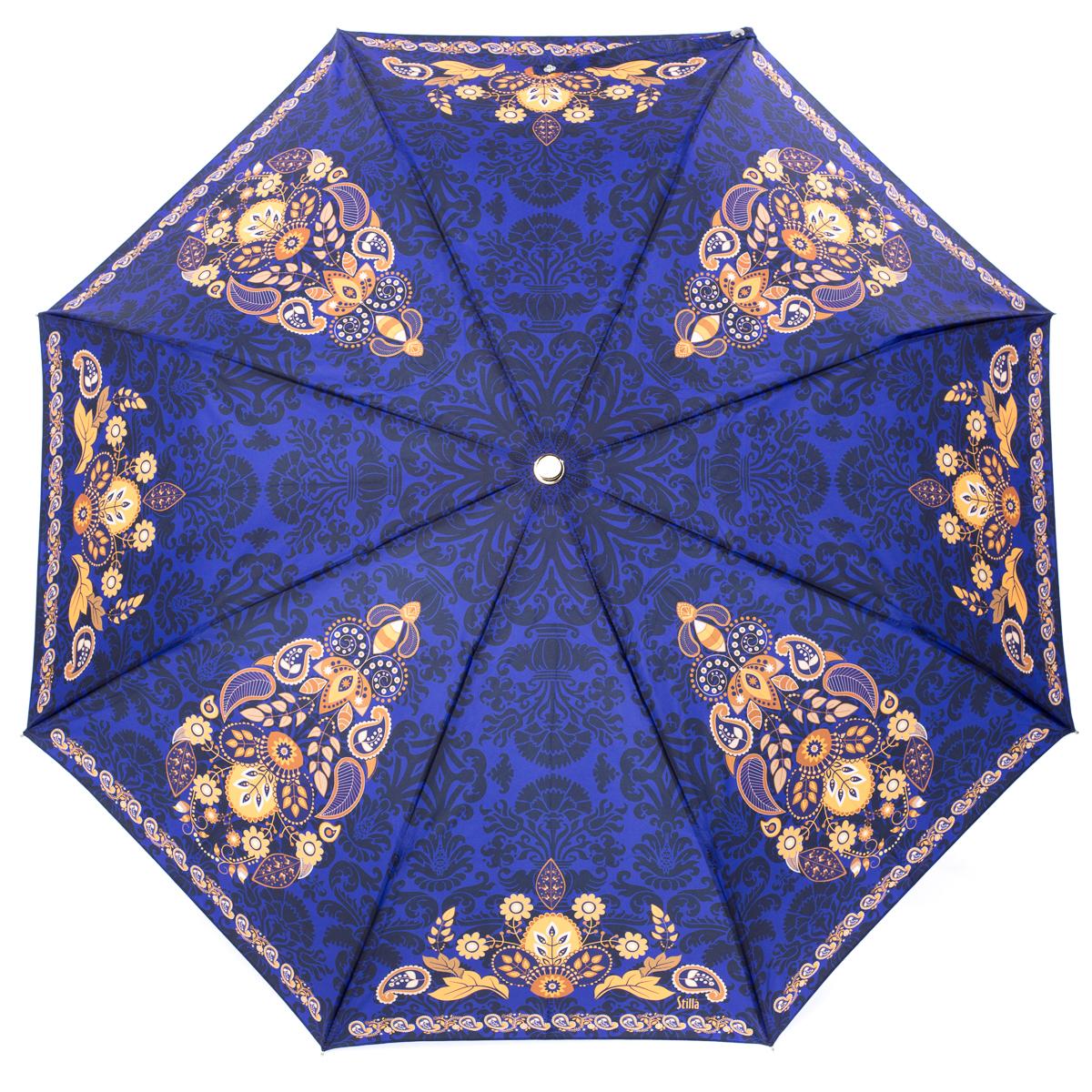 Зонт женский Stilla, цвет: синий, желтый. 743/1 miniПуссеты (гвоздики)Облегченный женский зонтик. Конструкция 3 сложения, полный автомат, облегченная конструкция (вес - 320 гр), система антиветер. Ткань - полиэстер. Диаметр купола - 112 см по верхней части, 101 см по нижней. Длина в сложенном состоянии - 27 см.