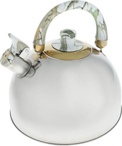 Чайник Bohmann, со свистком, цвет: зеленый, мраморный, 3,5 л94672Чайник из нержавеющей стали. Цветная (под мрамор) двигающаяся бакелитовая ручка. Свисток. Подходит для всех типов плит. Объем: 3,5 литра.