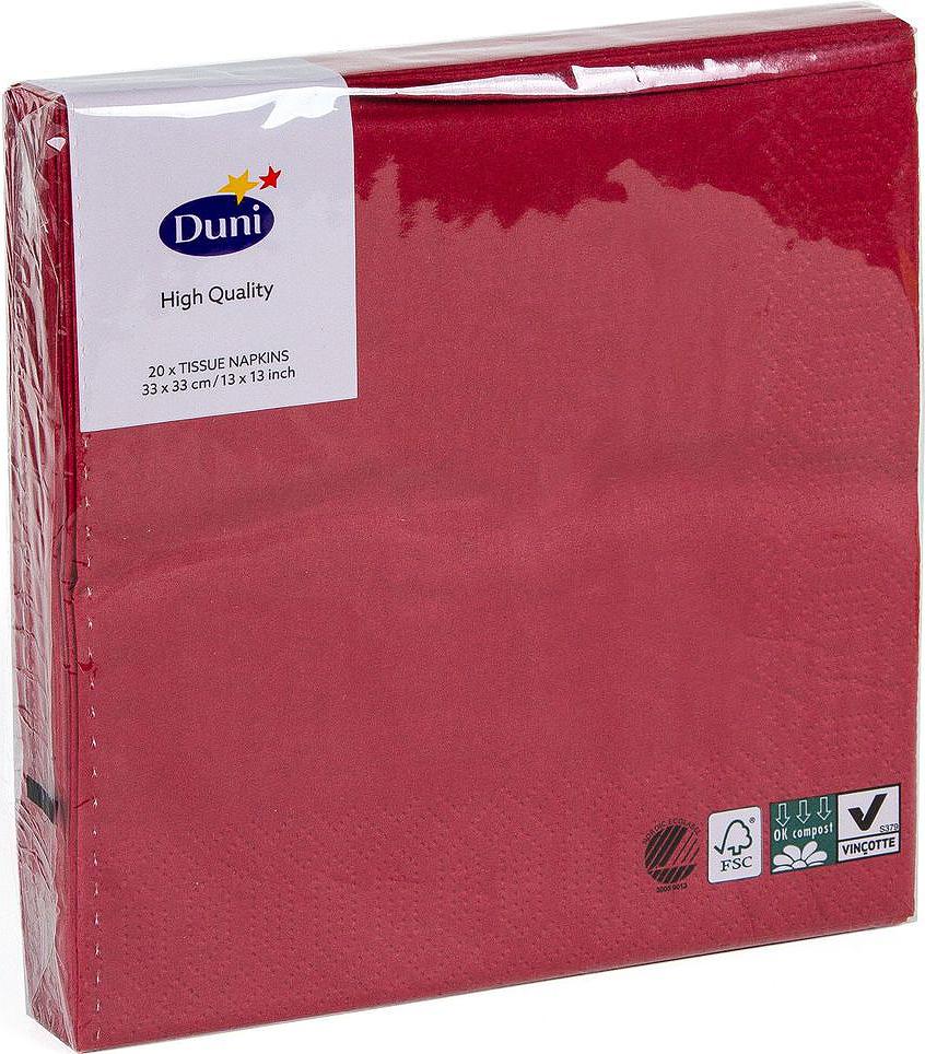 Салфетки бумажные Duni, 3-слойные, цвет: бордовый, 33 х 33 см, 20 штVT-1520(SR)Трехслойные бумажные салфетки изготовлены из экологически чистого, высококачественного сырья - 100% целлюлозы. Салфетки выполнены в оригинальном и современном стиле, прекрасно сочетаются с любым интерьером и всегда будут прекрасным и незаменимым украшением стола.