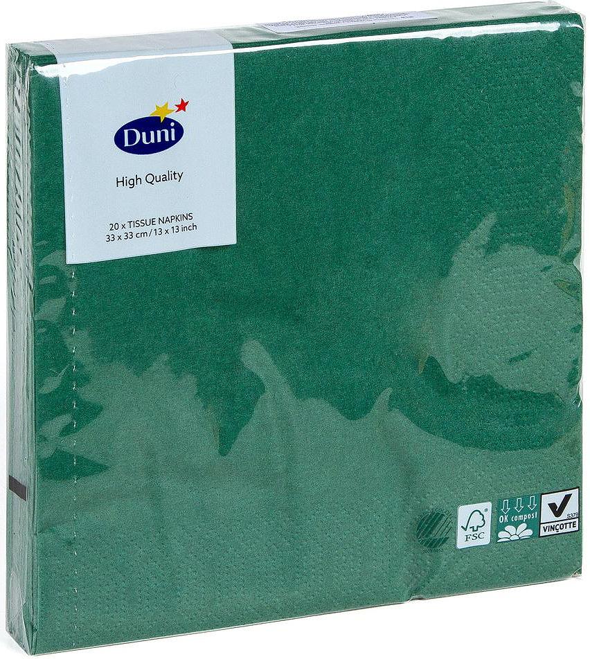 Салфетки бумажные Duni, 3-слойные, цвет: зеленый, 33 х 33 см, 20 штVT-1520(SR)Трехслойные бумажные салфетки изготовлены из экологически чистого, высококачественного сырья - 100% целлюлозы. Салфетки выполнены в оригинальном и современном стиле, прекрасно сочетаются с любым интерьером и всегда будут прекрасным и незаменимым украшением стола.