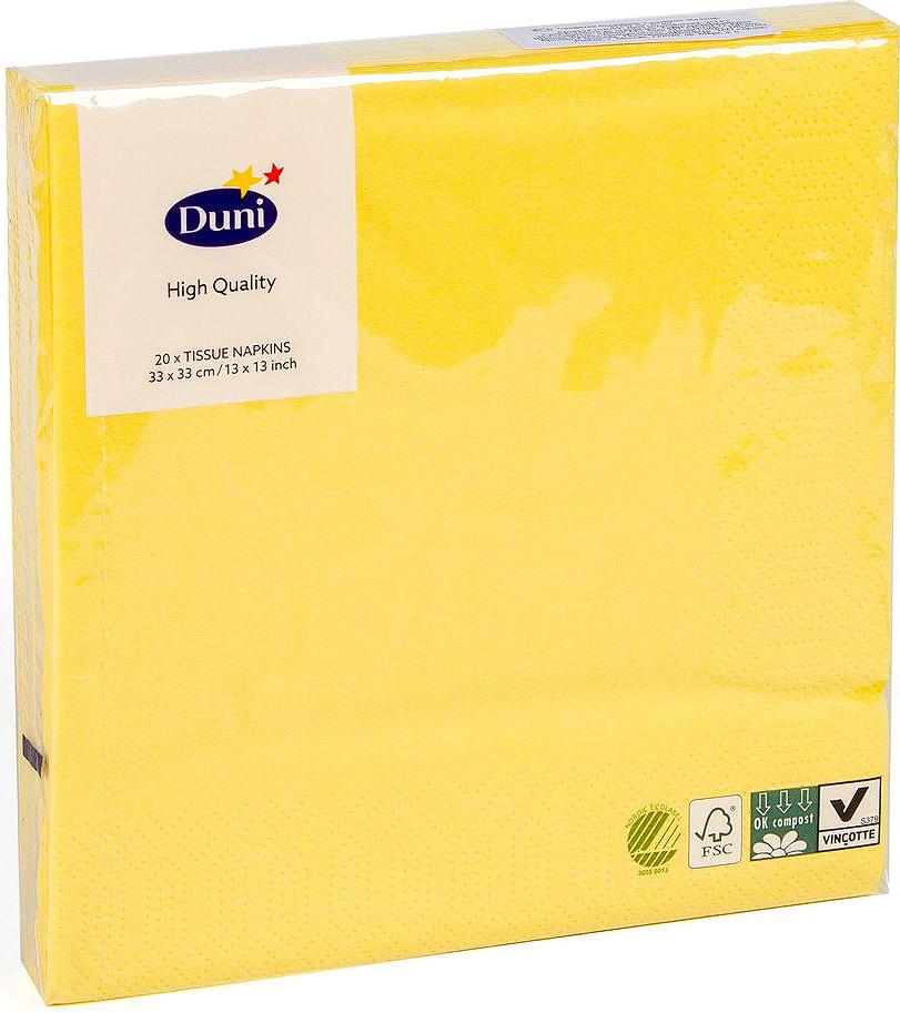 Салфетки бумажные Duni, 3-слойные, цвет: желтый, 33 х 33 см, 20 шт790009Трехслойные бумажные салфетки изготовлены из экологически чистого, высококачественного сырья - 100% целлюлозы. Салфетки выполнены в оригинальном и современном стиле, прекрасно сочетаются с любым интерьером и всегда будут прекрасным и незаменимым украшением стола.