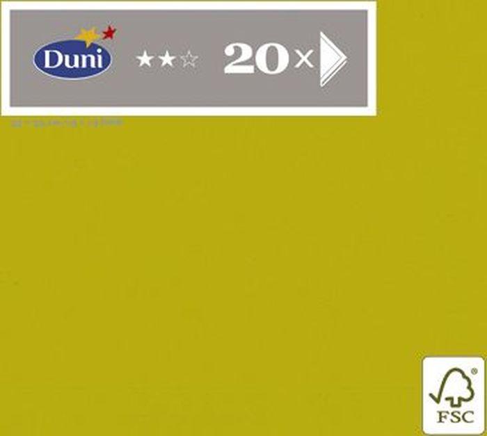 Салфетки бумажные Duni, 3-слойные, цвет: оливковый, 33 х 33 см, 20 шт790009Трехслойные бумажные салфетки изготовлены из экологически чистого, высококачественного сырья - 100% целлюлозы. Салфетки выполнены в оригинальном и современном стиле, прекрасно сочетаются с любым интерьером и всегда будут прекрасным и незаменимым украшением стола.