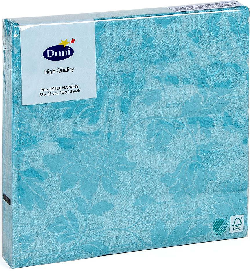 Салфетки бумажные Duni, 3-слойные, цвет: бирюзовый, 33 х 33 смV30 AC DCТрехслойные бумажные салфетки изготовлены из экологически чистого, высококачественного сырья - 100% целлюлозы. Салфетки выполнены в оригинальном и современном стиле, прекрасно сочетаются с любым интерьером и всегда будут прекрасным и незаменимым украшением стола.