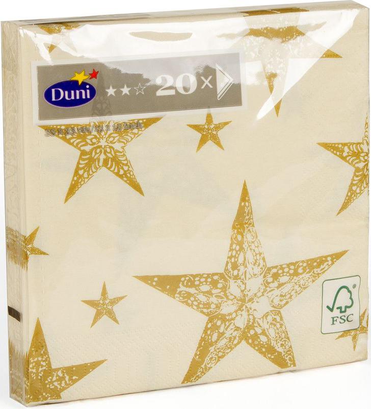 Салфетки бумажные Duni My Star Cream, 3-слойные, 33 х 33 смV30 AC DCМногослойные бумажные салфетки изготовлены из экологически чистого, высококачественного сырья - 100% целлюлозы. Салфетки выполнены в оригинальном и современном стиле, прекрасно сочетаются с любым интерьером и всегда будут прекрасным и незаменимым украшением стола.