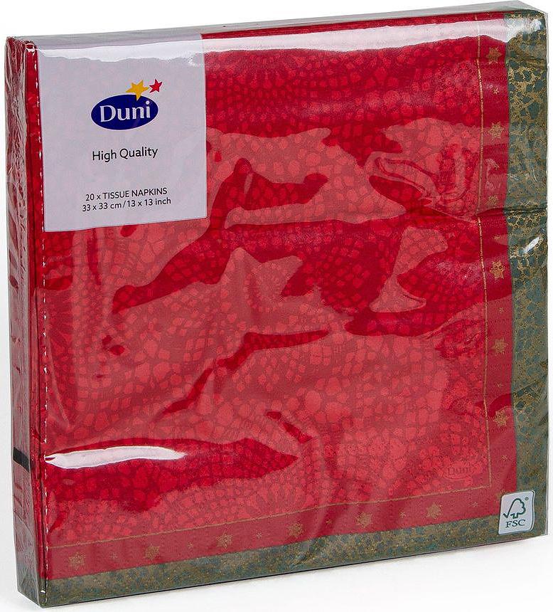 Салфетки бумажные Duni Festive Charm Red, 3-слойные, 33 х 33 смV30 AC DCМногослойные бумажные салфетки изготовлены из экологически чистого, высококачественного сырья - 100% целлюлозы. Салфетки выполнены в оригинальном и современном стиле, прекрасно сочетаются с любым интерьером и всегда будут прекрасным и незаменимым украшением стола.