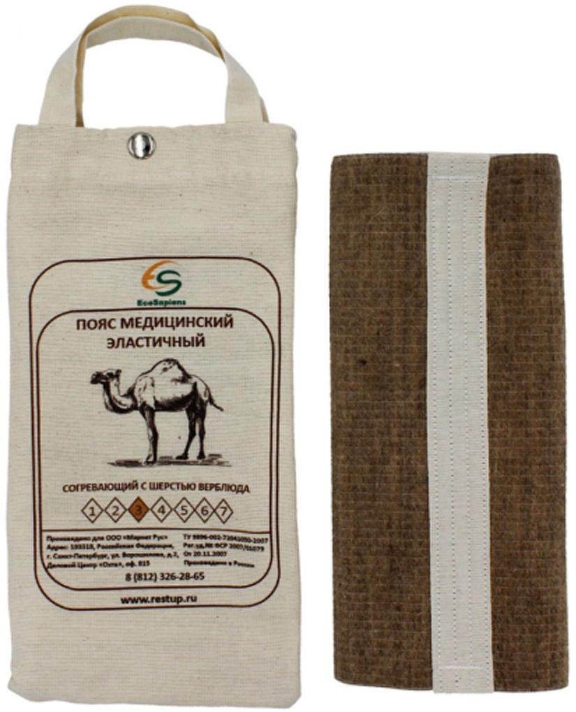 EcoSapiens Пояс медицинский эластичный согревающий с шерстью верблюда №3, размер M (46/48)18221_белыйСоздает оптимальный тепловой баланс, что усиливает кровообращение и ускоряет восстановление тканей.