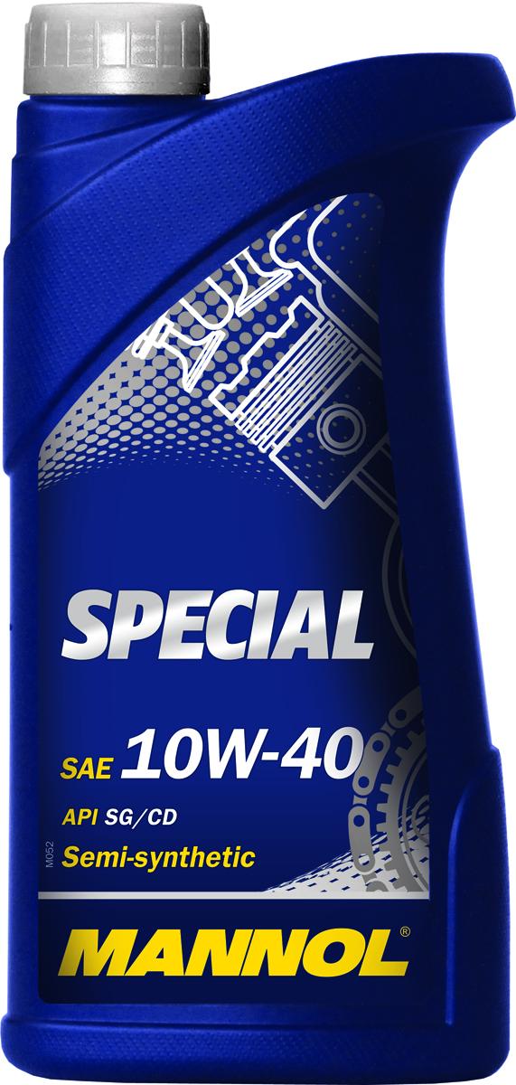 Моторное масло MANNOL Special, 10W-40, API SG/CD, полусинтетическое, 1 л2706 (ПО)Mannol Special 10W-40 - всесезонное полусинтетическое моторное масло, разработанное для применения в бензиновых и дизельных двигателях. Обладает высокой стойкостью к старению. Эффективно снижает нагаро- и лакообразование. Обеспечивает надежную смазку деталей двигателя. Содержит малозольный пакет присадок, способствующий продлению рабочего ресурса катализатора дожига отработавших газов.Допуски и соответствия VW 501.01/505.00, MB 229.1