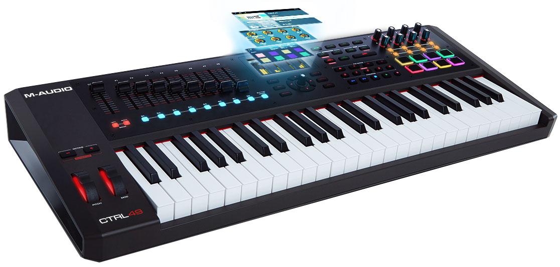 M-Audio CTRL49, Black MIDI-клавиатураM331USB MIDI клавиатура 49 полувзвешенных клавиш с послекасанием 4.3 цветной дисплей 9 фейдеров 8 энкодеров 8 пэдов 1/4 TS Jack входы педалей экспрессии и ножного переключателя MIDI вход/выход USB ПО Virtual Instrument Player software