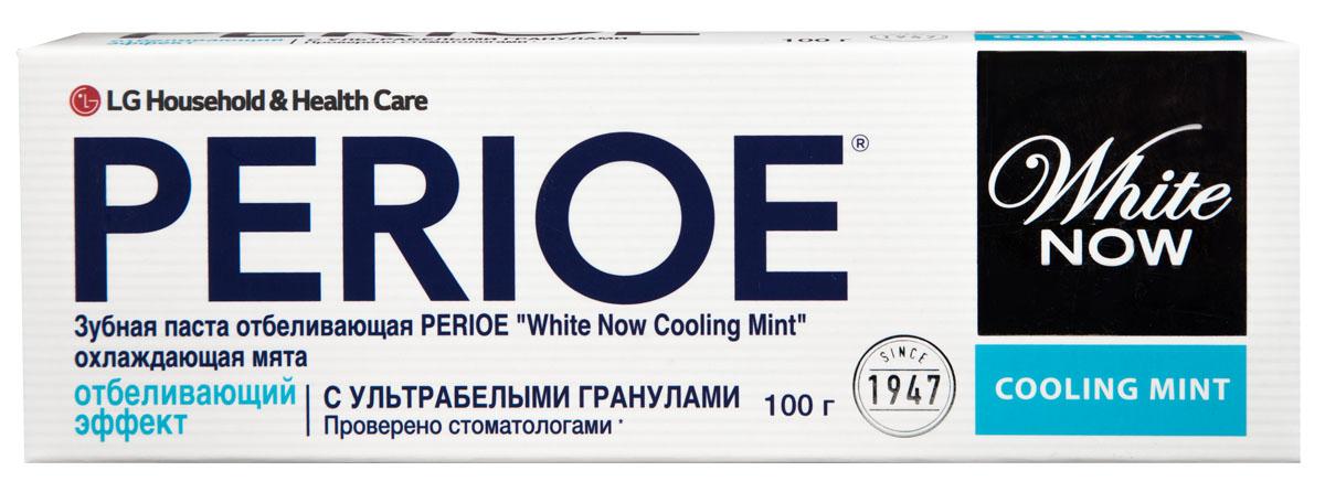 Perioe Зубная паста отбеливающая white now cooling mint охлаждающая мята 100 г28420_красныйСпециальная формула с ультра белыми гранулами для устранения налета, который приводит к потемнению зубной эмали. Эффективность подтверждена клиническими исследованиями.