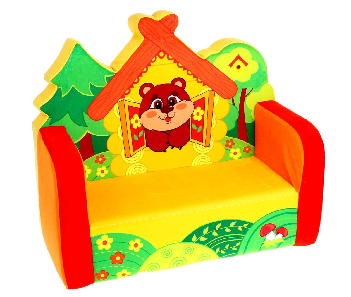 СмолТойс Мягкая игрушка Диван МедвежонокFS-91909Диванчик с дружелюбно выглядывающим медвежонком непременно привлечет внимание малыша! Кроха оценит удобство мягкого уголка, на котором можно с удовольствием почитать книжку, расположиться вместе с другом или просто отдохнуть. Небольшие размеры мебели делают ее похожей на игрушку и подходящей для любой квартиры. Благодаря сочным гармонирующим цветам и фигурной спинке диван Медвежонок станет настоящим украшением детской комнаты.