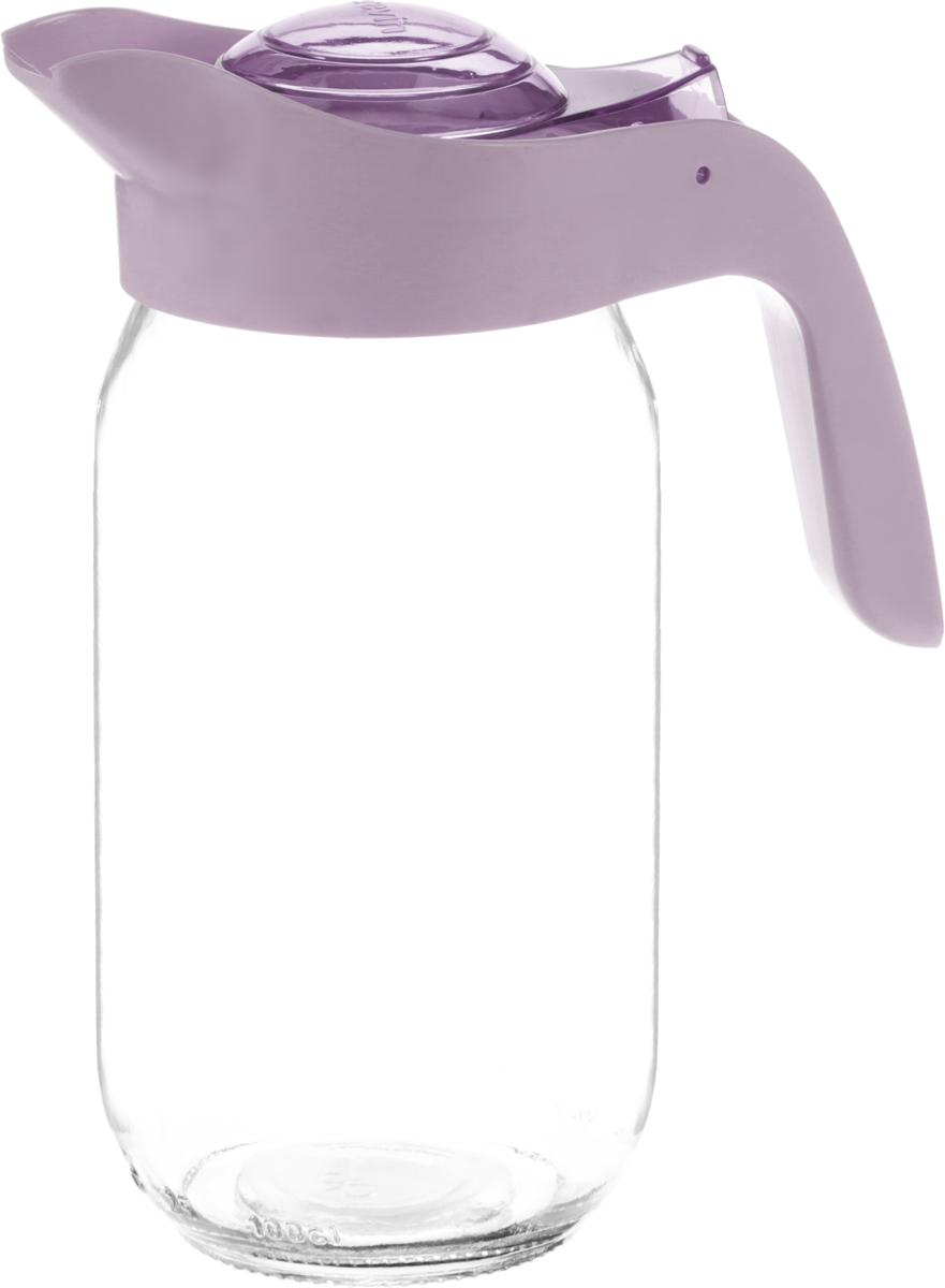 Кувшин Herevin, цвет: сиреневый, прозрачный, 1 лVT-1520(SR)Кувшин Herevin, выполненный из высококачественного прочного стекла, элегантно украсит ваш стол. Кувшин оснащен удобной пластиковой ручкой и откидной крышкой. Форма носика обеспечивает наливание жидкости без расплескивания. Крышка легко откручивается, что позволяет без труда наполнить емкость. Изделие прекрасно подойдет для подачи воды, сока, компота и других напитков. Диаметр (по верхнему краю): 8,5 см. Высота кувшина: 21 см.
