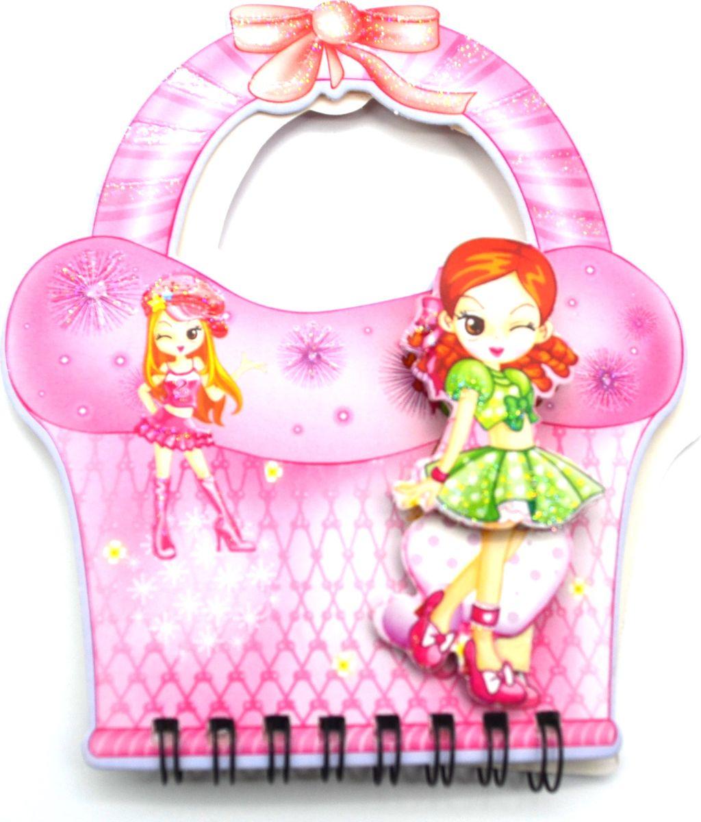 Zhelang Блокнот Девочка на розовой корзинке 2 60 листов в линейку8360СБлокнот с объемным изображением фигурки девочки выполнен в виде корзинки с ручками (60 листов). Листочки окрашены в голубой и зеленый цвета